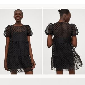 Black Princess Sleeve Polka Dot Baby Doll Dress